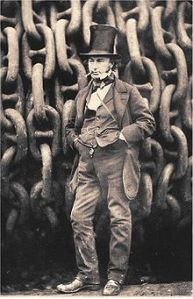 Isambard Kingdom Brunel by the launching chains of the SS Great Eastern