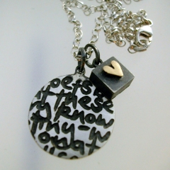 Round Writing Pendant with Square & Heart by Nicola Becci