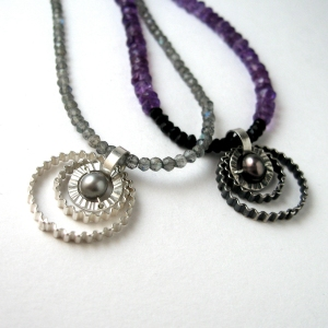 3 circles on bead necklaces by Clara Breen