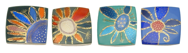 Seed Head Brooches, Silver, Enamel, Fine Gold Wire and Gold Leaf By Shelia McDonald